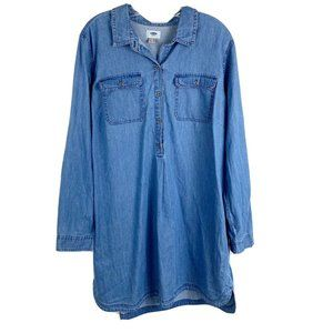 Old Navy  Blue Chambray Medium Wash Shirt Dress XL